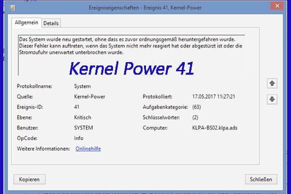 Причины ошибки kernel power 41