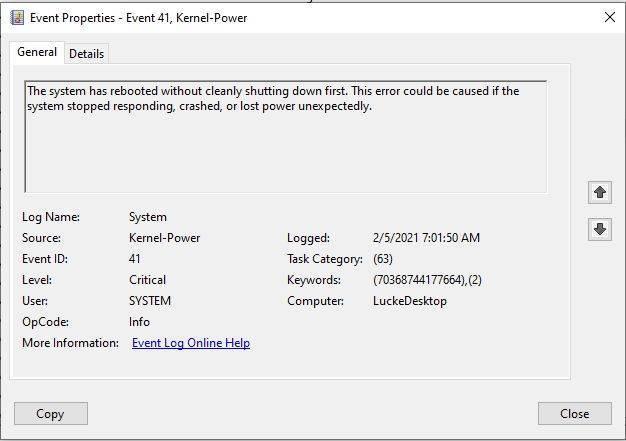 Ошибка: kernel-power код 41 категория (63), что делать?