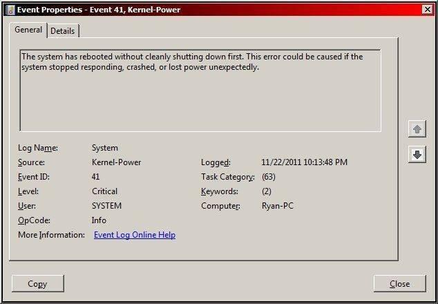 Kernel power: код события 41 категория 63 в windows 10
