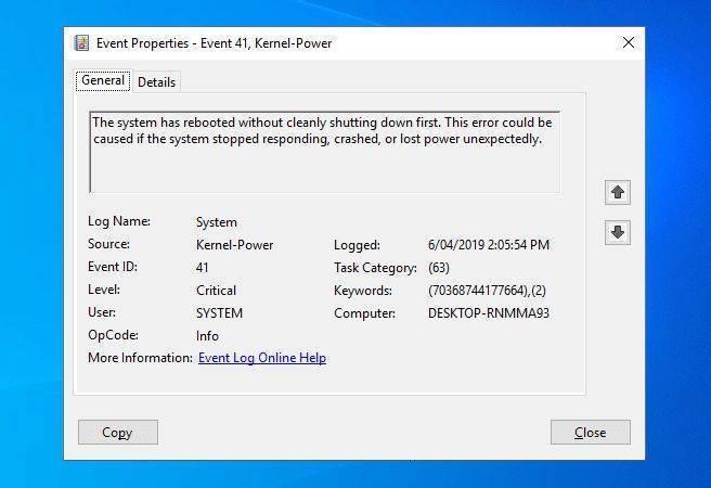 Критическая ошибка kernel power 41 категория 63 в системе windows 10